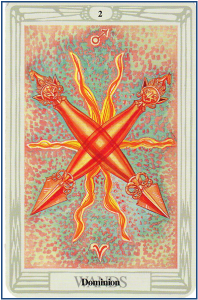 Thoth Tarot 2 of Wands http://livingwithcards.com