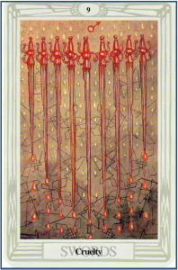 Thoth Tarot 9 of Swords http://livingwithcards.com