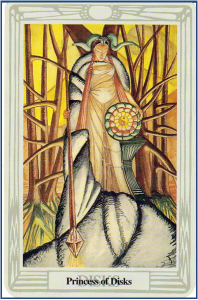 Thoth Tarot Princess of Disks (Page of Pentacles) http://livingwithcards.com