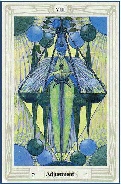 Thoth Tarot VIII-Adjustment (Justice) http://livingwithcards.com