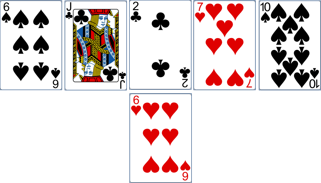 Playing cards 6 of Spades - Jack of Clubs - 2 of Clubs - 7 of Hearts - 10 of Spades - 6 of Hearts http://livingwithcards.com