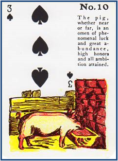 Gypsy Witch Fortune Telling Playing Cards 10 Pig (3 of Spades) http://livingwithcards.com