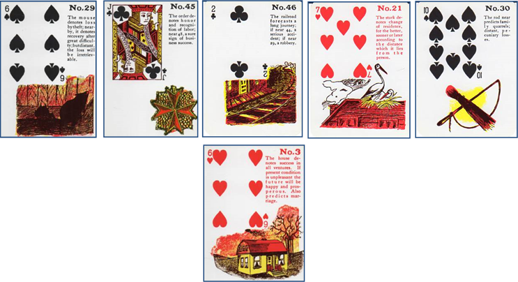 Gypsy Witch Fortune Telling Playing Cards 29 Mouse (6 of Spades) - 45 Order (Jack of Clubs) - 46 Railroad (2 of Clubs) - 21 Stork (7 of Hearts) - 30 Rod (10 of Spades) - 3 House (6 of Hearts) http://livingwithcards.com