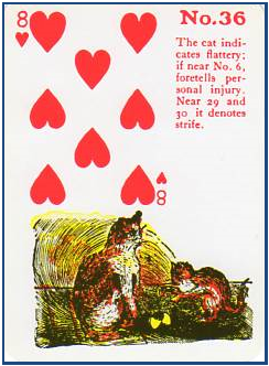 Gypsy Witch Fortune Telling Playing Cards 36 Cat (8 of Hearts) http://livingwithcards.com