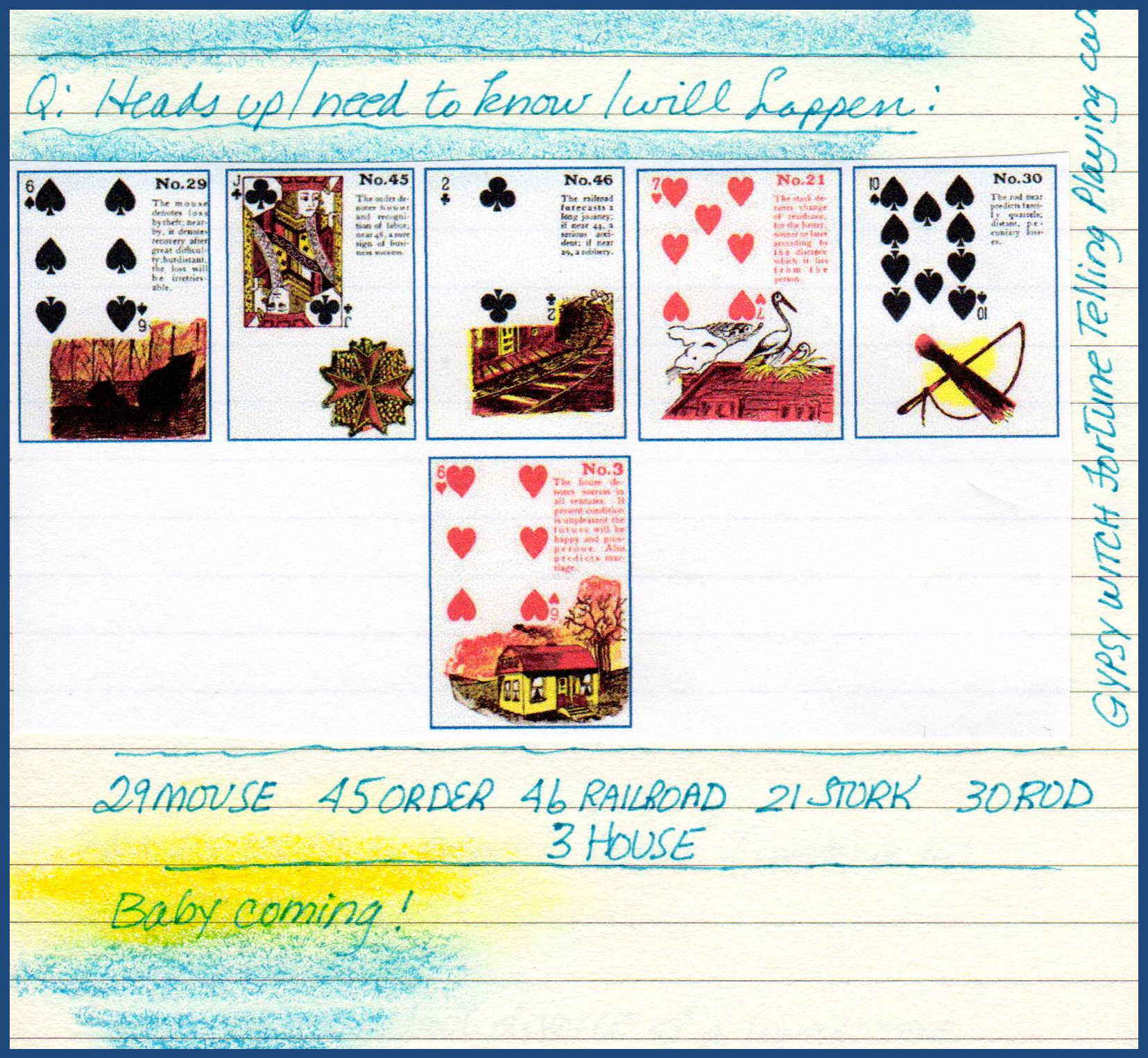 Journal entry showing Gypsy Witch Fortune Telling Playing Cards prediction of baby's birth: 29 Mouse (6 of Spades) - 45 Order (Jack of Clubs) - 46 Railroad (2 of Clubs) - 21 Stork (7 of Hearts) - 30 Rod (10 of Spades) - 3 House (6 of Hearts) http://livingwithcards.com