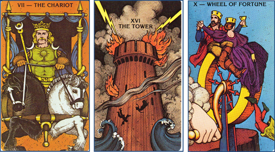 Morgan-Greer Tarot Daily Card Draw: VII-The Chariot - XVI-The Tower - X-Wheel of Fortune http://livingwithcards.com