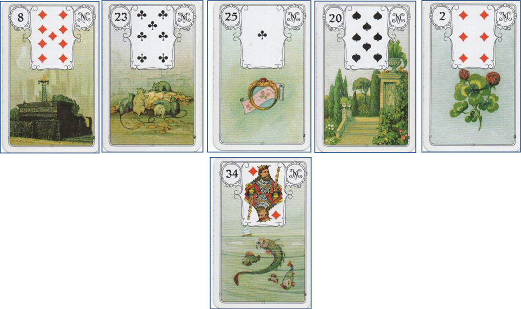 Blaue Eule (Blue Owl) Lenormand 8 Coffin - 23 Mice - 25 Ring - 20 Garden - 2 Clover http://livingwithcards.com