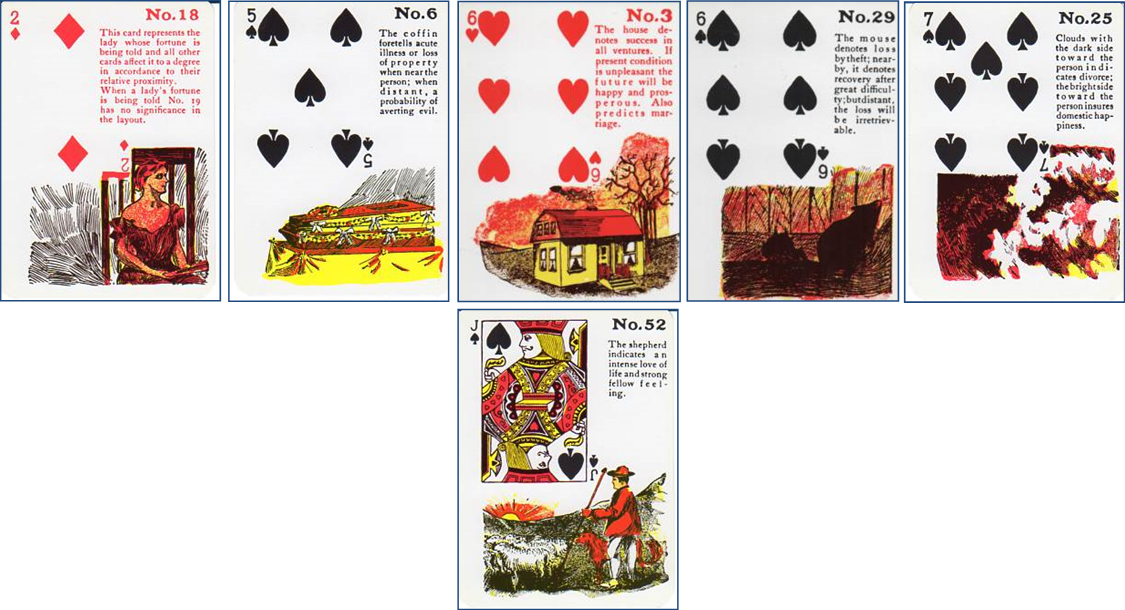 Gypsy Witch Fortune Telling Playing Cards: 18 Lady (2 of Diamonds) - 6 Coffin (5 of Spades) - 3 House (6 of Hearts) - 29 Mouse (6 of Spades) - 25 Clouds (7 of Spades) - 52 Shepherd (Jack of Spades) http://livingwithcards.com
