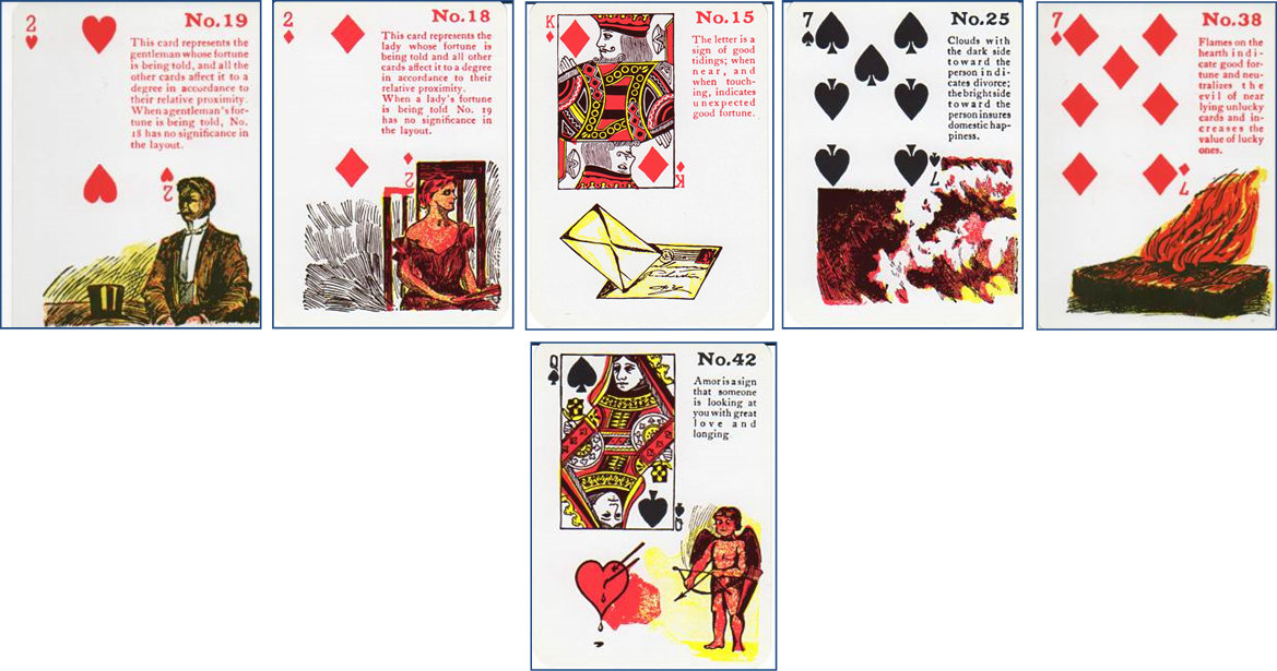 Gypsy Witch Fortune Telling Playing Cards: 19 Gentleman (2 of Hearts) - 18 Lady (2 of Diamonds) - 15 Letter (King of Diamonds) - 25 Clouds (7 of Spades) - 38 Flames on the Hearth (7 of Diamonds) - 42 Amor (Queen of Spades) http://livingwithcards.com