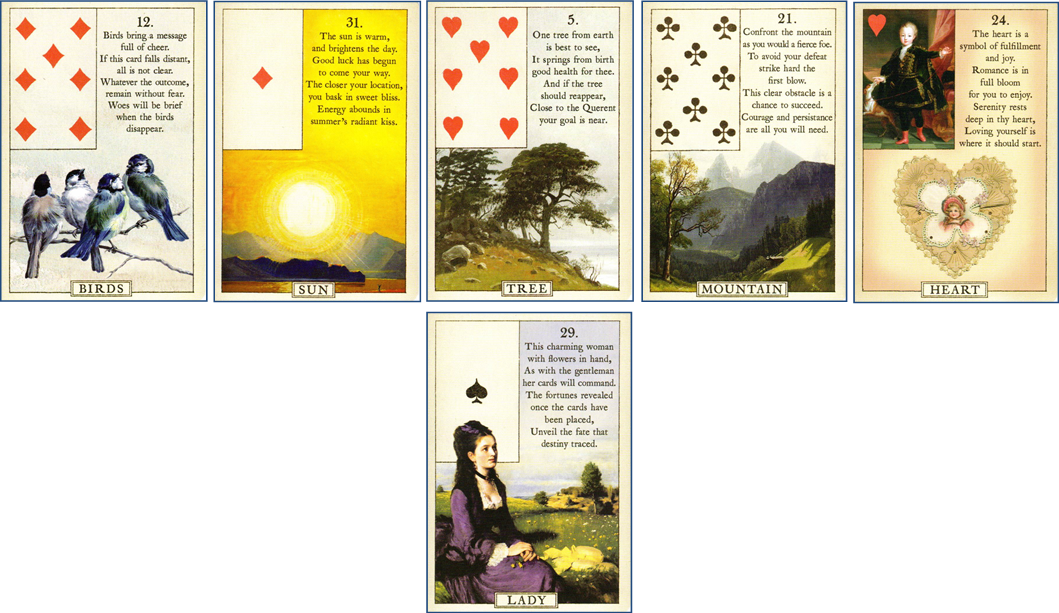 Blue Bird Lenormand Line of 5 with Base Card: 12 Birds - 31 Sun - 5 Tree - 21 Mountain - 24 Heart - 29 Woman http://livingwithcards.com