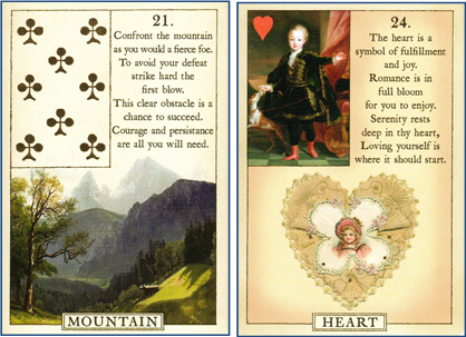 Blue Bird Lenormand 21 Mountain - 24 Heart http://livingwithcards.com