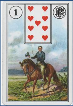 Forensic Cartomancy Lenormand card reading, missing child Jesse Wilson: 1 Rider http://livingwithcards.com