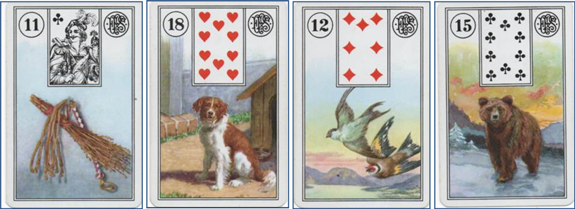 Forensic Cartomancy Lenormand card reading on missing child Jesse Wilson, Buckeye AZ: 11 Whip - 18 Dog - 12 Birds - 15 Bear http://livingwithcards.com