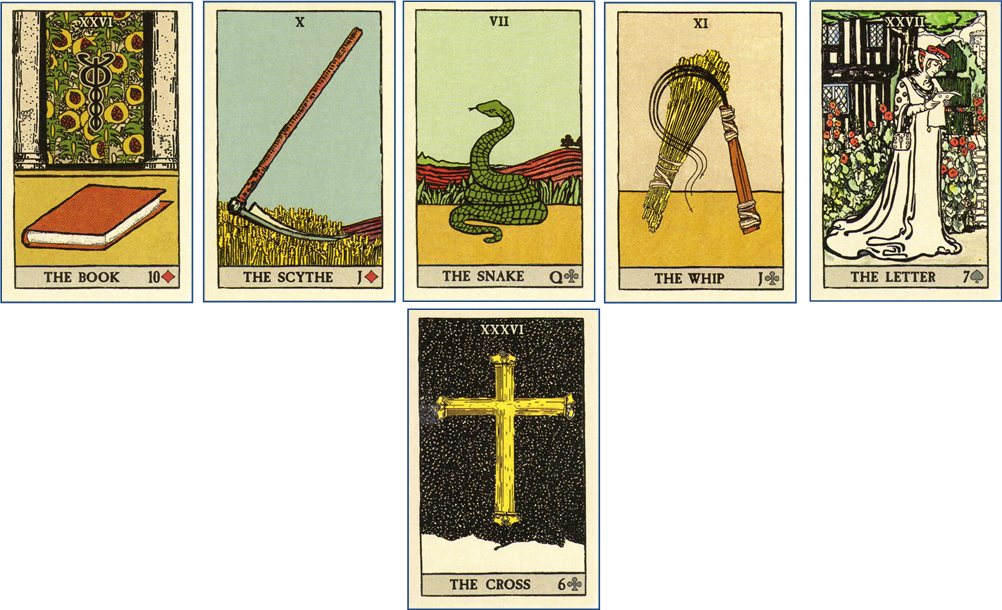 Forensic Cartomancy Lenormand card reading on missing child Jesse Wilson, Buckeye AZ: 26 Book - 10 Scythe - 7 Snake - 11 Whip - 27 Letter - 36 Cross http://livingwithcards.com